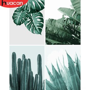 HUACAN Oil Painting Hand Tools Tools By Numbers Leaf Plant Kits Drawing Canvas HandPainted DIY Pictures By Numbers Still Life Home Decoratio