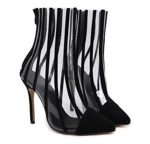 Hot Sale- Women Black Patchwork Transparent Clear PVC Pointed Toe Ankle Boots High Heel Motorcycle Short botas mujer Big Size 35-40
