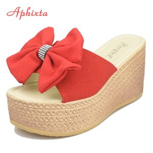 Aphixta 9cm Heels Summer Beach Platform Women Wedge Slippers Appliques Butterfly-knot Female Sandals Clog Shoes Slides Women Y200628