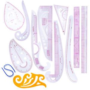 12st Französisch Curve Nähset Nähen Lineal Multifunktionswerkzeuge Schneidelineal Kleidung Probe Metric Maßstab