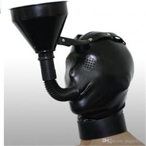 2019 Latex Hood Mask Neue Ankunft Unisex Latex Trichter Hood Fetisch Masken mit Reißverschluss mit Ponytail Hair Latex Mask