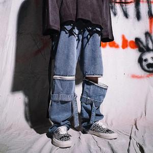 Remiendo de la cremallera extraíble Hip Hop Denim Jeans varones sueltos gótico retro monopatín pantalones ocasionales flojos pantalones pierna ancha Streetwear