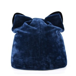 Autumn Winter Women's Beanies Cat Hat Ladies Warm Velvet Skullies Cap With Flashing Rhinestone Ear Flaps Girls Cute Bonnet Touca