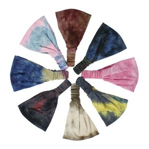 Tie-dye Sports Headband Mulheres meninas Cheerleaders Broadside Bandas Cabelo Sweat Headbands Yoga fitness Scarf Esporte Toalha 8 cores Z0945