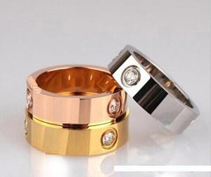 Pop plata titanio de acero de alta USpecial USpecial rosa anillo de oro anillo de oro para el amor anillo de los amantes de la pareja con la bolsa original