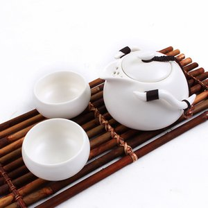 3Pcs / Set Ceramic Chinese Gongfu Tee-Set Seitengriff Teekanne Teacups Mini Travel Tragbarer Teeservice GGA2932-3