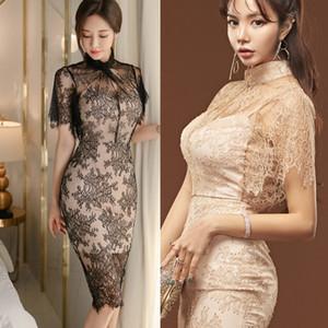 Nuova versione coreana del signore temperamento di media lunghezza sottile vestito da modo del pannello esterno del sacchetto di pizzo prospettiva dell'anca Slim