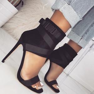 Женщины черные гладиаторские сандалии сексуальный открытый носок крест привязали лето 11.5cm высокие каблуки леди платье обувь EU43