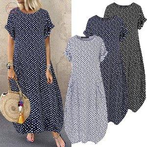 La manera del verano Vestido estampado Vestido de tirantes para mujer Zanzea 2020 manga corta túnica de Maxi Vestidos femenino ocasional del lunar del traje de gran tamaño