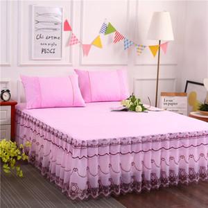 1 pcs dentelle drap de lit jupe + 2 pcs taies d'oreiller Ensemble de literie princesse Literie Couvre-lits Lit Lit Cover Girl Home Decoration