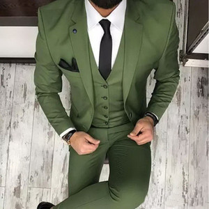 2020 Mens Designer Jackets Formal Suits Peaked Lapel Three Pieces Groom Tuxedos Best Man Business Mens Outwear(Jacket+Vest+Pants)