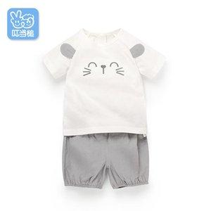 Dinstry 2019 été 1-4 ans garçons vêtements jeux de chat de dessin animé pour la jeune fille garçon enfants manches courtes ensembles enfants vêtements T200413