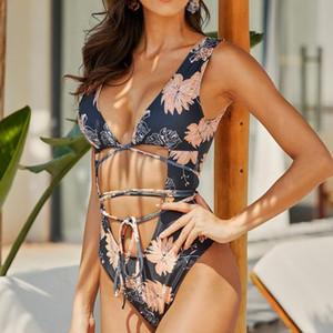 Las mujeres al por menor en línea con cordón de poliéster Impreso Negro Traje de baño atractivo del bikini extrema Sexi