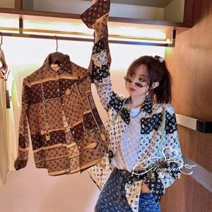 2020 lettere di qualità di progettazione Versione stampata allentata coreana di crema solare camicia a maniche lunghe con camicette estive