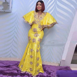 New Bright Yellow Mermaid Evening Dress Puffy Short Sleeves African Long Prom Dress Lace Appliques Robe de soiree Party Gowns