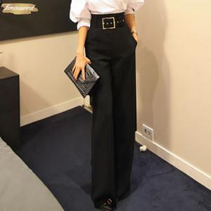 Kadınlar Pantolonlar için Biçimsel Siyah Düz Pantolon Yüksek Bel Pantalon Kostüm Pant Yaz Pantolon Pantolon Bayan Geniş Bacak