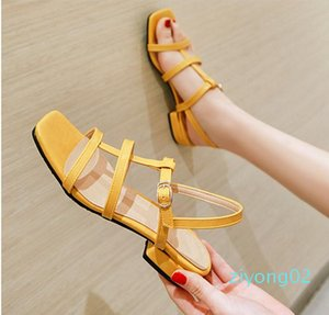 plus size 31 32 to 43 44 45 46 casual style pink T strap low heel sandals luxury women designer slides z02