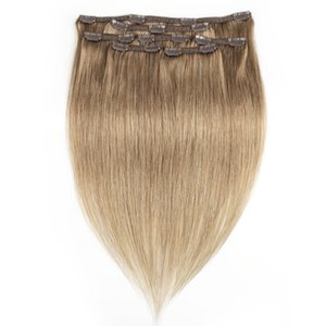 KISSHAIR 7 piezas clip en la extensión del pelo # 8 de ceniza color rubio remy india del pelo humano de la armadura 100g 110g brasileña
