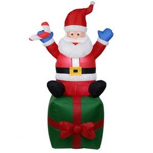 Sıcak 1.8M Yüksek Otomatik Şişme Noel Baba Işık Şişme Noel Dekorasyon Bahçe Şişme Oyuncaklar Açık Oyuncak