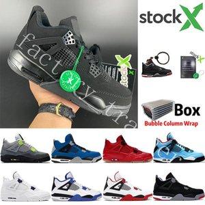 2020 Bred Kara Kedi 4 4s Basketbol ayakkabı erkekler beyaz Çimento Encore Wings Ateş Kırmızı Singles Tasarımcı Sneakers IV Saf Para Erkekler Eğitmenler 7-13