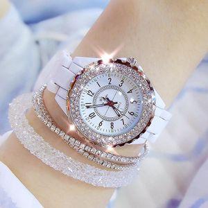 2019 BS abelha irmã Mulheres relógio de pulso Relógio de luxo Mulheres cerâmica branca Presentes Moda Ladies Watch Reloj Mujer para mulheres Saati