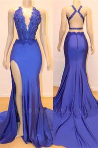 Сексуальные Реальные Фотографии Royal Blue Prom Dresses Африканские Спагетти С Открытой Спиной Вечернее Платье Плюс Размер Fommal Party Dress