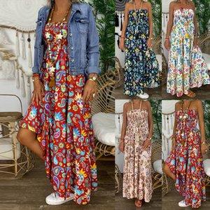 Женский Плюс Размер Vintage Boho Печать без бретелек длинного платья макси платья богемского платья Tropical Beach винтажных платьев макси