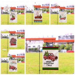 Garten Weihnachtsdekoration Flagge Weihnachten LKW Printed Wasserdicht Double Side Hof Flags Doppel Yard Flag Festliche Party-Geschenke WY109Q