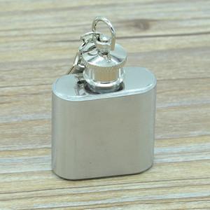 1oz Paslanmaz Çelik Hip Flask ile Anahtarlık Açık Taşınabilir Mini Flask Cep Şarap Şişesi Viski Alkol Şişe İçki Hip mataralar VT1718