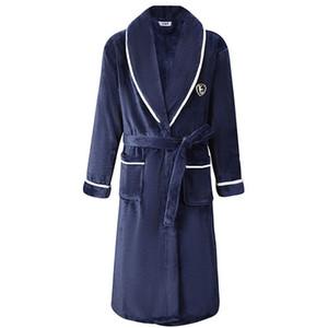 Automne / Hiver hommes Chemise de nuit Kimono Peignoir robe molleton nuisette V-cou Lingerie intime solide couleur de nuit