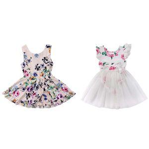 Bebek Kız Elbise Baskılı katlayın Prenses Elbise Kolsuz Pamuk Blend Yuvarlak Yaka Diz Boyu A-line Etek 40