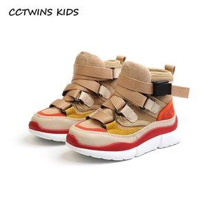 CCTWINS ENFANTS 2018 Automne Enfants Haute Haut Sneaker Bébé Garçon Pu En Cuir Chaussure Girll Mode Sport Casual Dresser FH2244 Y18110304