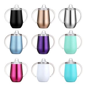 10oz Sippy Cup Stainless Steel wine glasses Double Handles Egg Cups Sucker Cup Double Wall Vacuum Insulated Flask EEA1729