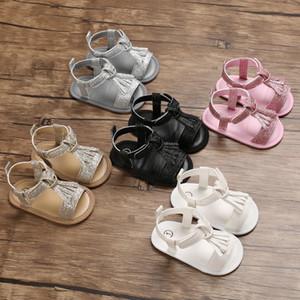 Yaz Bebek Çocuk Kız Sandalet Prewalker Yenidoğan PU Deri Sert Sole Yatağı Ayakkabı Püskül Pullarda Bebek M200509 Ayakkabı