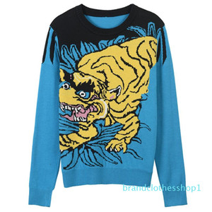 Fashion-High End Blu Tiger Jacquard Pullover Le donne di marca Same Felpe Style Knitting Donne Runway Style Maglioni 110.106