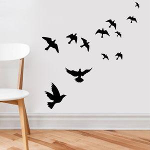 venta caliente 42 * 44 cm PVC etiqueta de la pared tallada pájaros pegatinas de la pared del sitio cama para niños