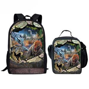 Designer-Dinosaurier-Druck Schulranzen Set für Schule Primaris Schüler Schoolbag Big Rucksack Teenager-Alter Jungen Bookbags Kühle