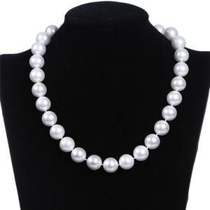 New chic single-strand man-made 6mm pearl bib necklace necklace jewelry gift fashion women's bib chain jewelry WCW103