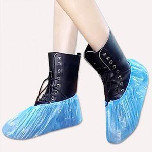 Zapato 100 piezas desechables de plástico grueso al aire libre del día lluvioso limpieza de la alfombra azul de la cubierta cubiertas del zapato impermeable de la cubierta caliente venta de zapatos