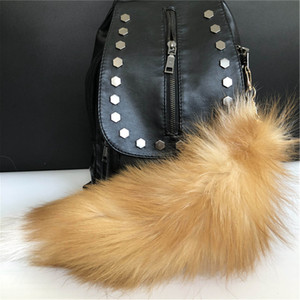 Tail Charm Cystal Keyrings Car Real Keychians Bag Fox Fur Cosplay KeyChain Toy Genuine Tassels Vggmd