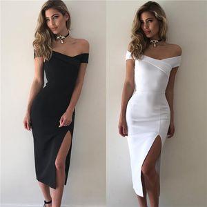 Summer Vintage Women Summer Off Shoulder Sexy Dress Club Party Pleated Dresses Open Split Maxi Long Dress fz3566