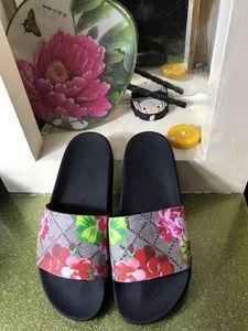 Style Classique de luxe européenne Chaussons sandale mode Chaussures femmes pantoufle semelle plate doux et confortable, imprimé décoration florale