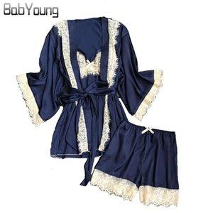 Encaje Robe BabYoung verano de las mujeres pijamas atractivos de la camiseta de manga corta Pantalones cortos del camisón 3pcs de baño Traje Inicio Ropa de dormir Pijamas Mujer