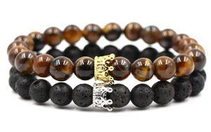 8 millimetri 2PCS / Set hth3 elastico natura adjusted pietra nera lava vulcanica bordare micro della CZ zircone zircone braccialetto Crown