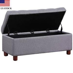 """39"""" скамейка для хранения хохлатая льняная ткань Тахта скамейка для хранения H0007 табурет подставка для ног с хранением мебели для гостиной США запас"""