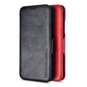 PU caja de la carpeta de cuero para iPhone 6S 7 8 plus con soporte de ranura de tarjeta se destacan dinero del bolsillo de cubierta suave de silicona tirón para XR XS XMAX