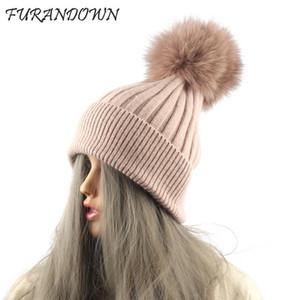 FURANDOWN Piel real pompones Mujeres del sombrero invierno lanas gorrita tejida hecha punto rayada Gorros niñas Cap