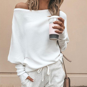 2019 Fall Winter Fashion Long Slash Neck Sweater Casual Long Sleeve Plus Size Pullovers Loose Solid Batwing Sleeve Sweater