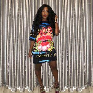Clube Vestido Loose Women Digital Impresso Vestidos letra impressa Causal Arrefecer vestido colorido Lip Noite