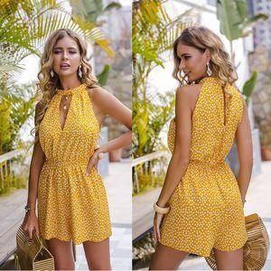 Fashion women's jumpsuit summer new design women's hanging neck polka dot women's jumpsuit hot sale size S-XL